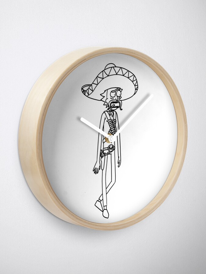 Alternate view of Mexican Rick Sanchez Sombrero Mustache | Rick and Morty character Clock