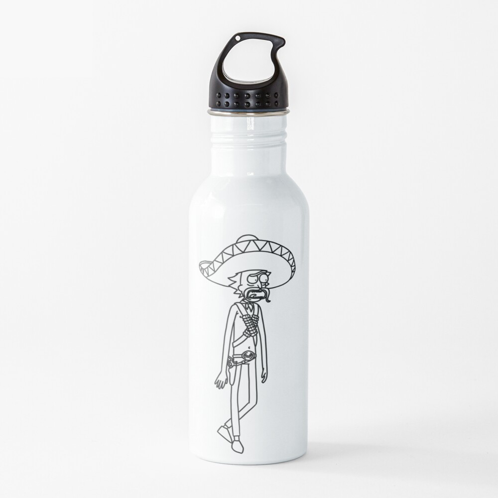 Mexican Rick Sanchez Sombrero Mustache | Rick and Morty character Water Bottle