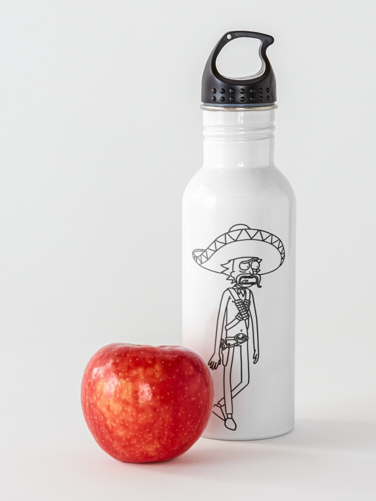 Alternate view of Mexican Rick Sanchez Sombrero Mustache | Rick and Morty character Water Bottle