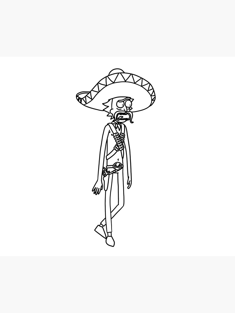Mexican Rick Sanchez Sombrero Mustache | Rick and Morty character by newarts