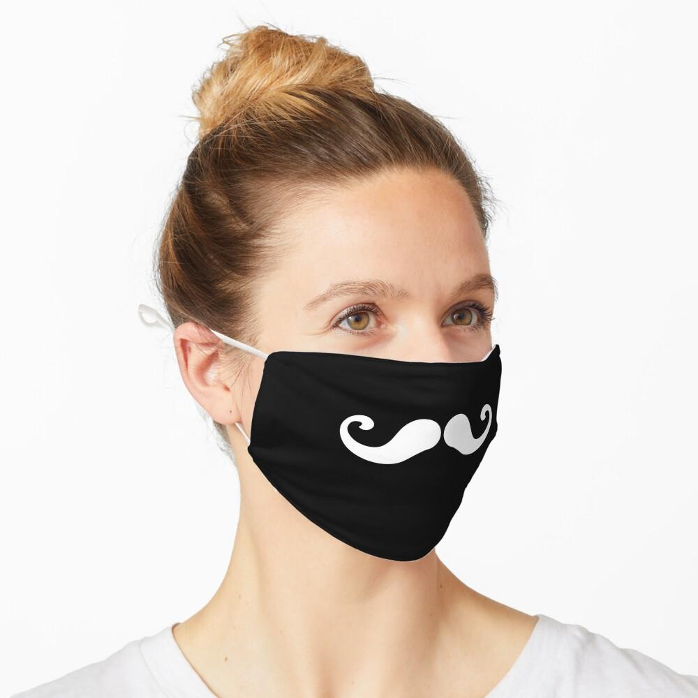Handlebar Mustache Face Mask Mouth White on Black Mask