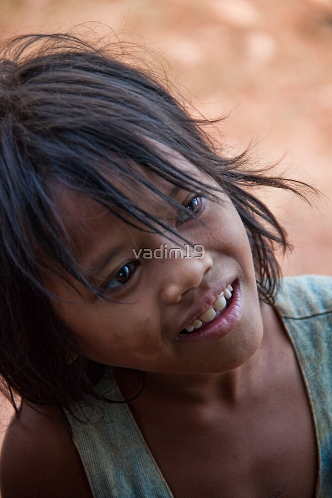 Cambodia. Portrait of a little girl. by vadim19