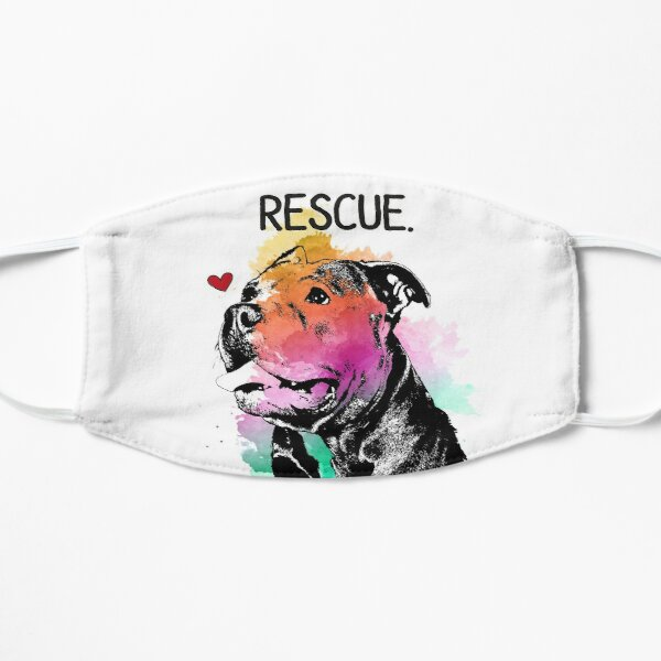 Rescue Pitbull Dog Watercolor Flat Mask