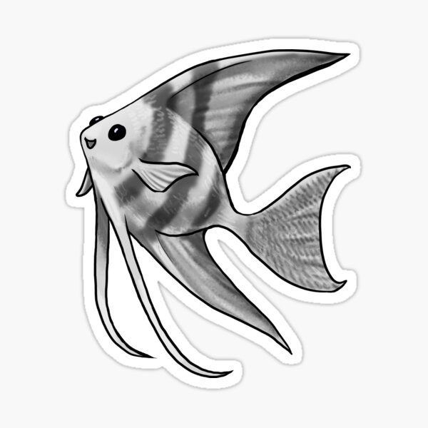 Silver Striped Angelfish Sticker