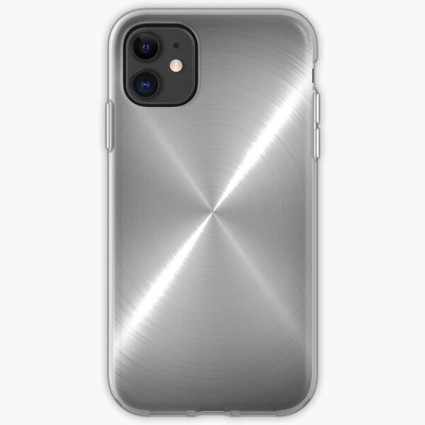 Silver Stainless Shiny Steel Metal iPhone Soft Case