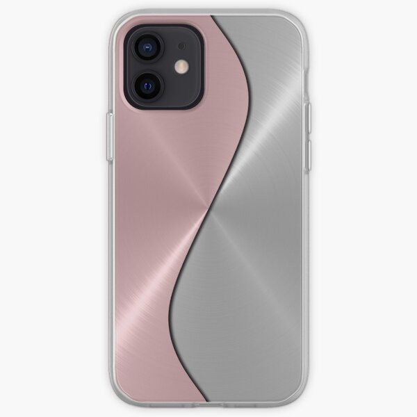 Pink and Silver Stainless Shiny Steel Metal Look iPhone Soft Case