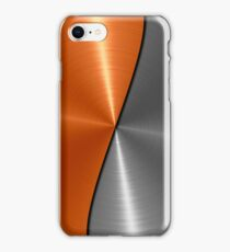 Orange and Silver Stainless Shiny Steel Metal  iPhone Case/Skin