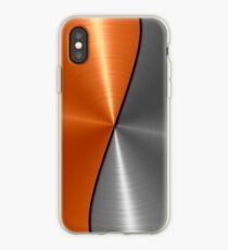 Orange and Silver Stainless Shiny Steel Metal  iPhone Case