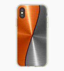 Vinilo o funda para iPhone Naranja y Plata Acero brillante de acero inoxidable