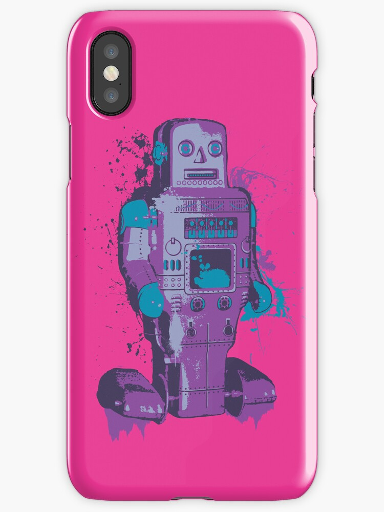 Purple Toy Robot Splattery Shirt or iPhone Case by thedailyrobot