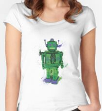 Green Splattery Toy Robot Shirt or iPhone Case Women's Fitted Scoop T-Shirt