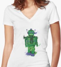 Green Splattery Toy Robot Shirt or iPhone Case Women's Fitted V-Neck T-Shirt