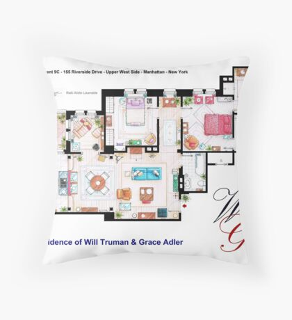 Apartment of Will Truman and Grace Adler Throw Pillow