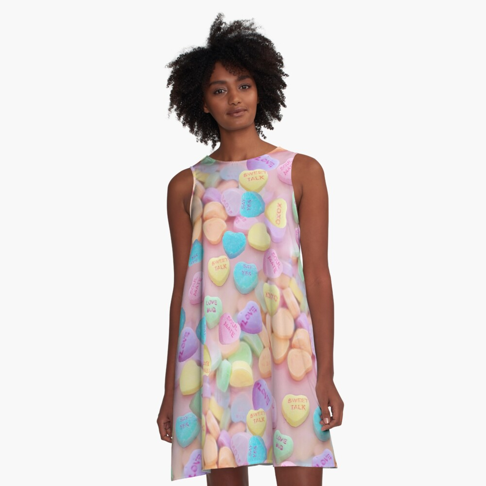 valentines candy hearts A-Line Dress