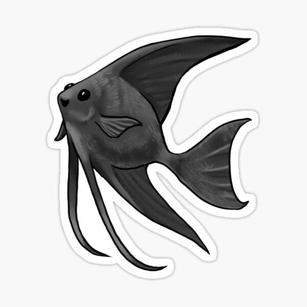 Black Lace Angelfish Sticker