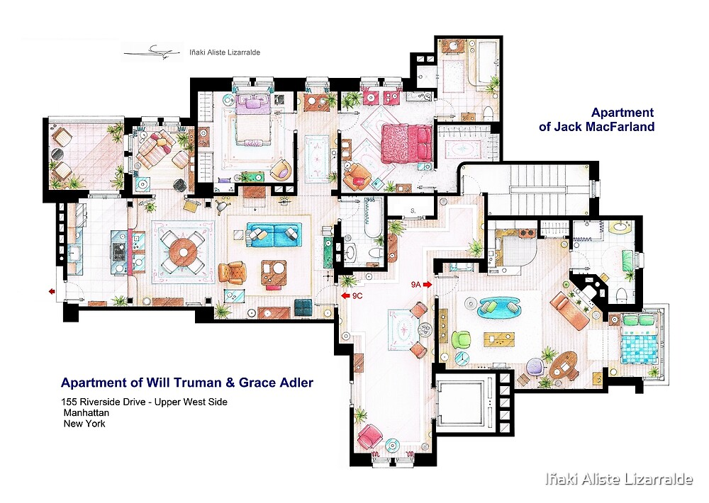 Apartments of Will Truman, Grace Adler and Jack MacFarland by Iñaki Aliste Lizarralde