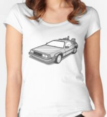 Back to the Future Delorean  Women's Fitted Scoop T-Shirt
