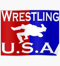 U.S.A. Wrestling logo Poster