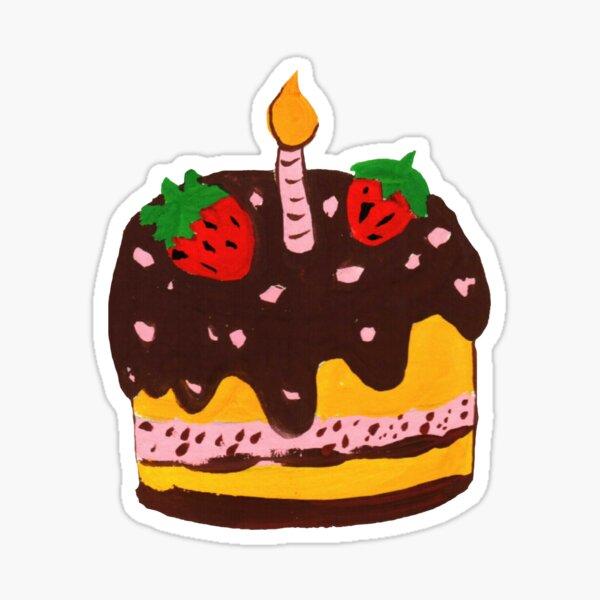 My Birthday Cake Recipe - Pink, Yellow, Chocolate Sticker