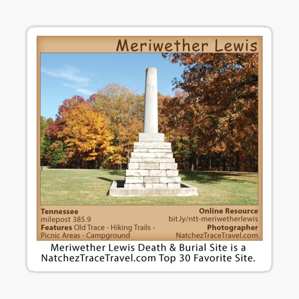 Meriwether Lewis (fall) on the Natchez Trace Parkway. Sticker