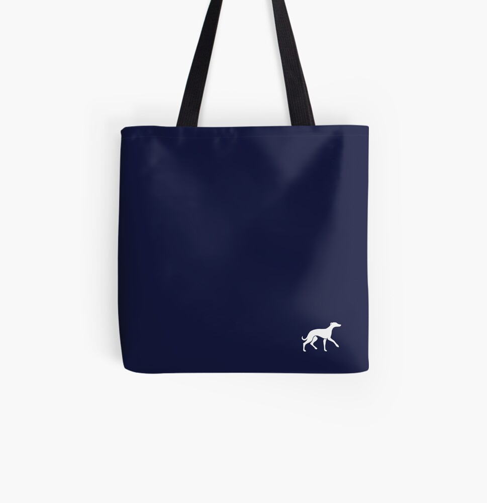 White Whippet On Navy Design All Over Print Tote Bag