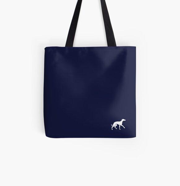 White Whippet On Navy Design All Over Print Tote Bag