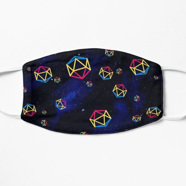 pansexual dice in space Flat Mask