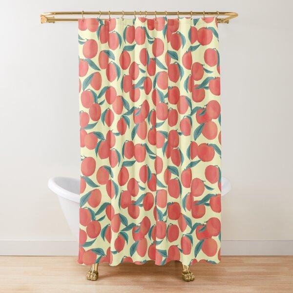 Peach Peachy Peaches Summer Fruit Pattern Shower Curtain