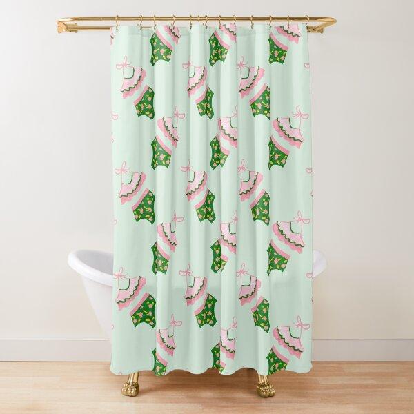 Retro Swimwear - Pink and Green Shower Curtain