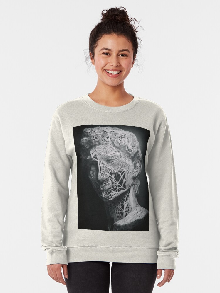 Alternate view of MICHELANGELO STATUE OF DAVID IN BLACK AND WHITE LINES Pullover Sweatshirt