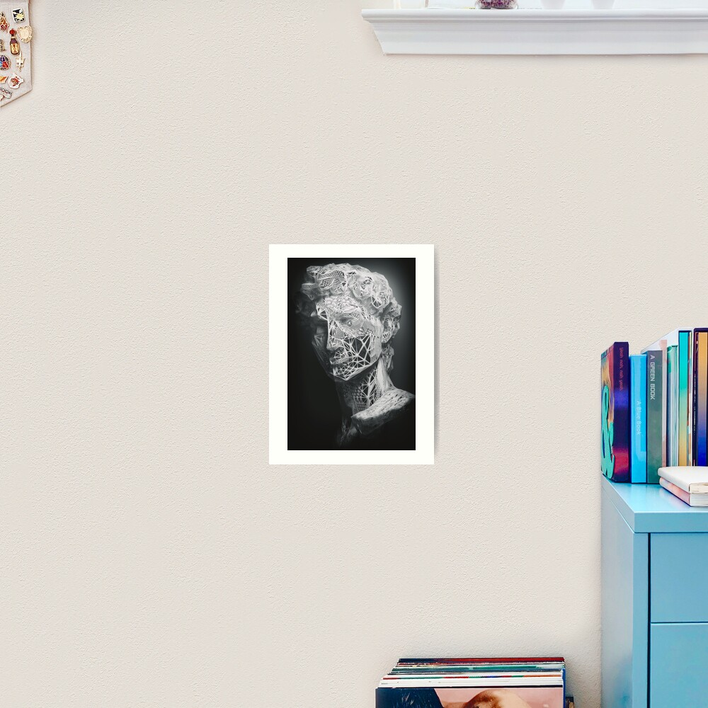 MICHELANGELO STATUE OF DAVID IN BLACK AND WHITE LINES Art Print