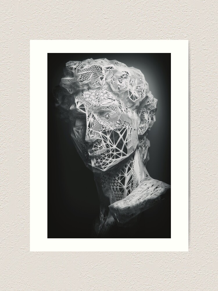 Alternate view of MICHELANGELO STATUE OF DAVID IN BLACK AND WHITE LINES Art Print