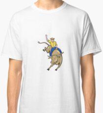 Rodeo Cowboy Bull Riding Cartoon Classic T-Shirt