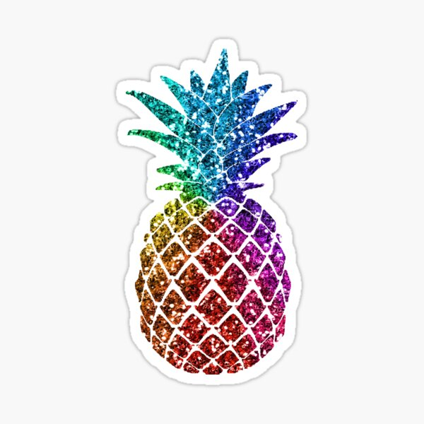 Rainbow Glitter Pineapple - Glitter Pineapple  Sticker