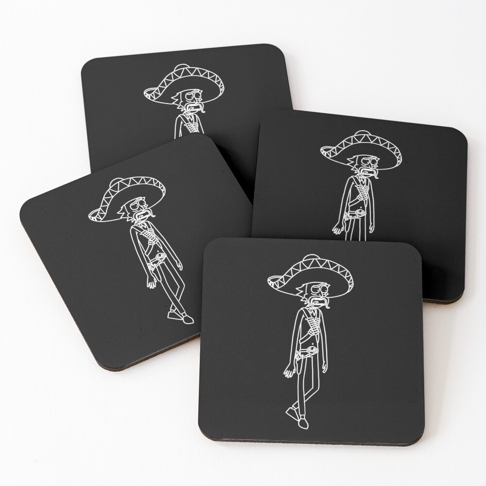 Mexican Rick Sanchez Sombrero Mustache | Rick and Morty character Coasters (Set of 4)