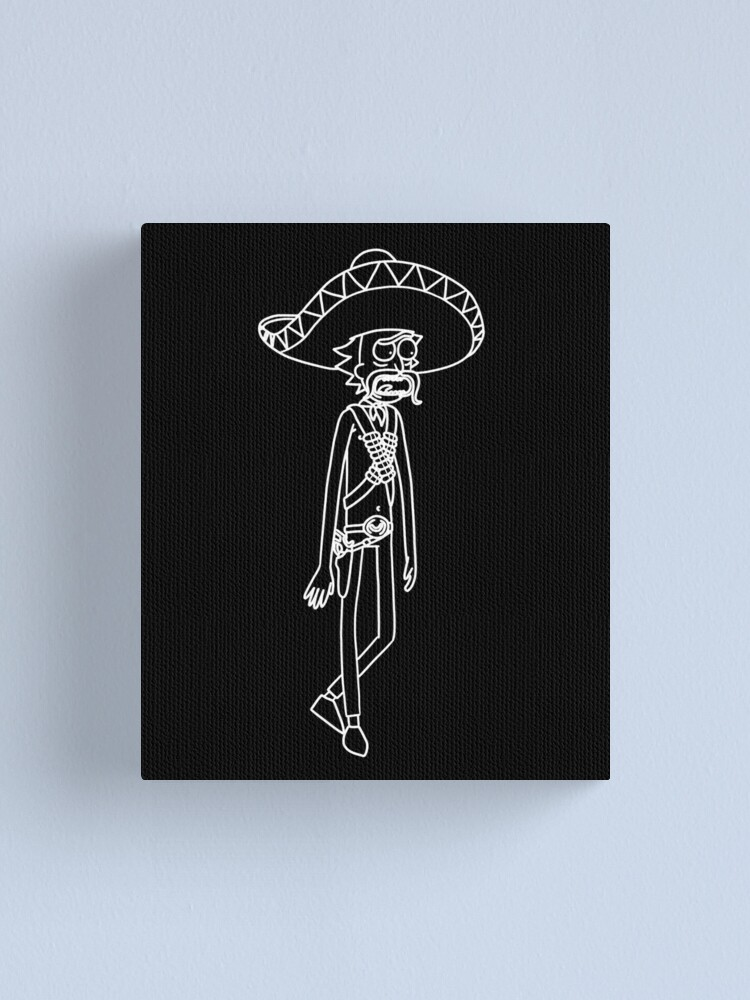Alternate view of Mexican Rick Sanchez Sombrero Mustache | Rick and Morty character Canvas Print