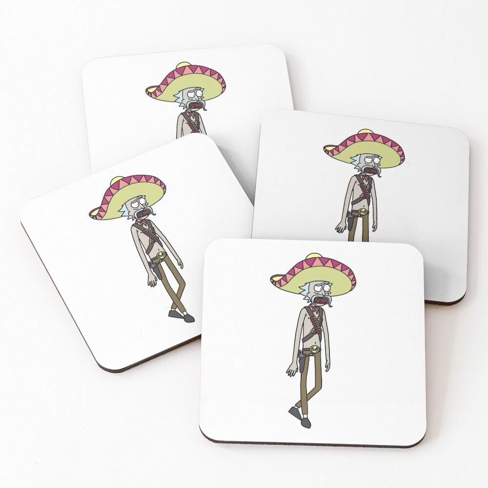 Mexican Rick Sanchez Sombrero Mustache | Rick and Morty character Coasters (Set of 4)