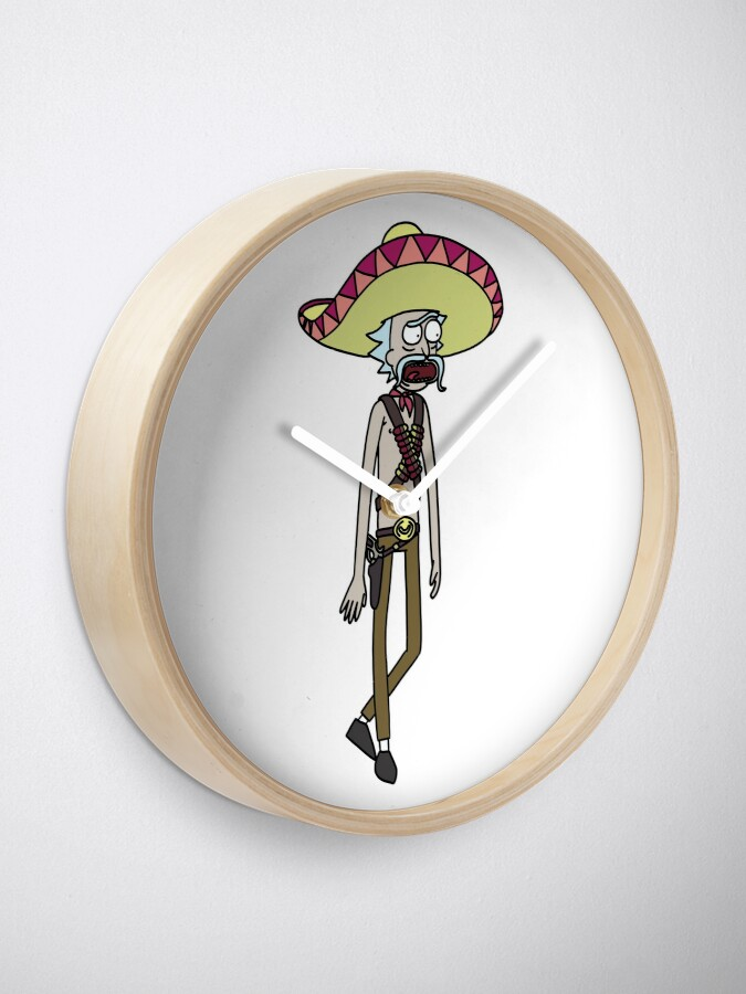 Alternate view of Mexican Rick Sanchez Sombrero Mustache   Rick and Morty character Clock