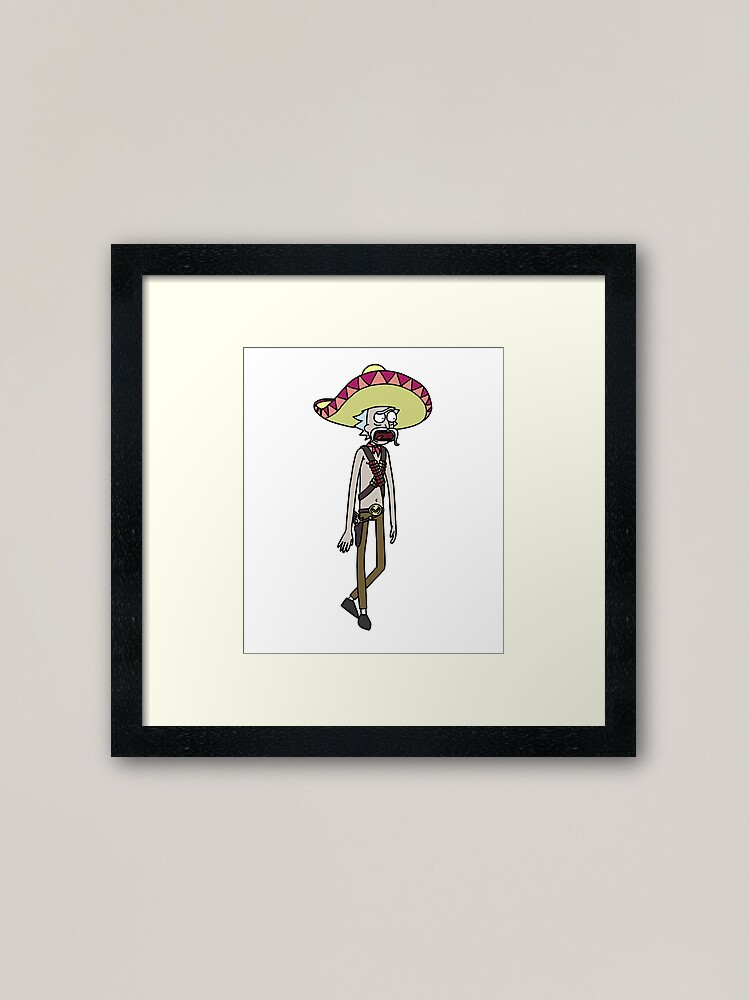 Alternate view of Mexican Rick Sanchez Sombrero Mustache | Rick and Morty character Framed Art Print