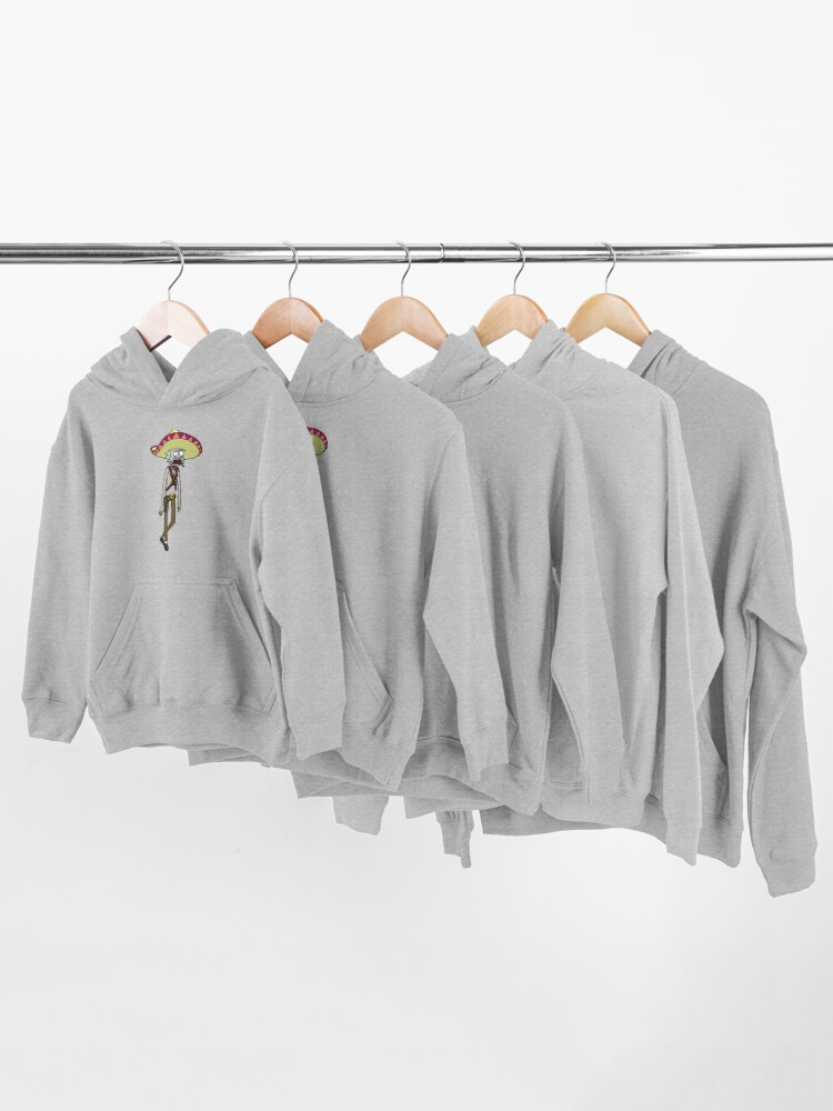 Alternate view of Mexican Rick Sanchez Sombrero Mustache   Rick and Morty character Kids Pullover Hoodie
