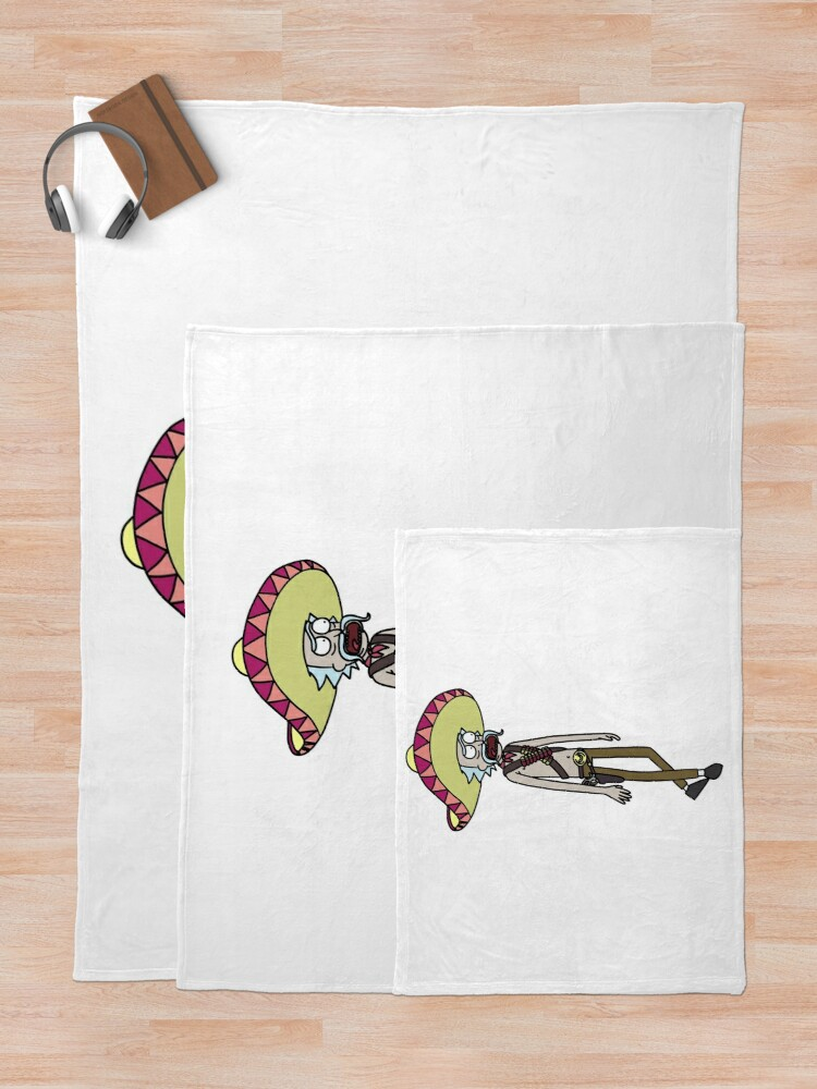 Alternate view of Mexican Rick Sanchez Sombrero Mustache   Rick and Morty character Throw Blanket