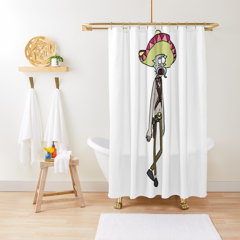 Mexican Rick Sanchez Sombrero Mustache | Rick and Morty character Shower Curtain