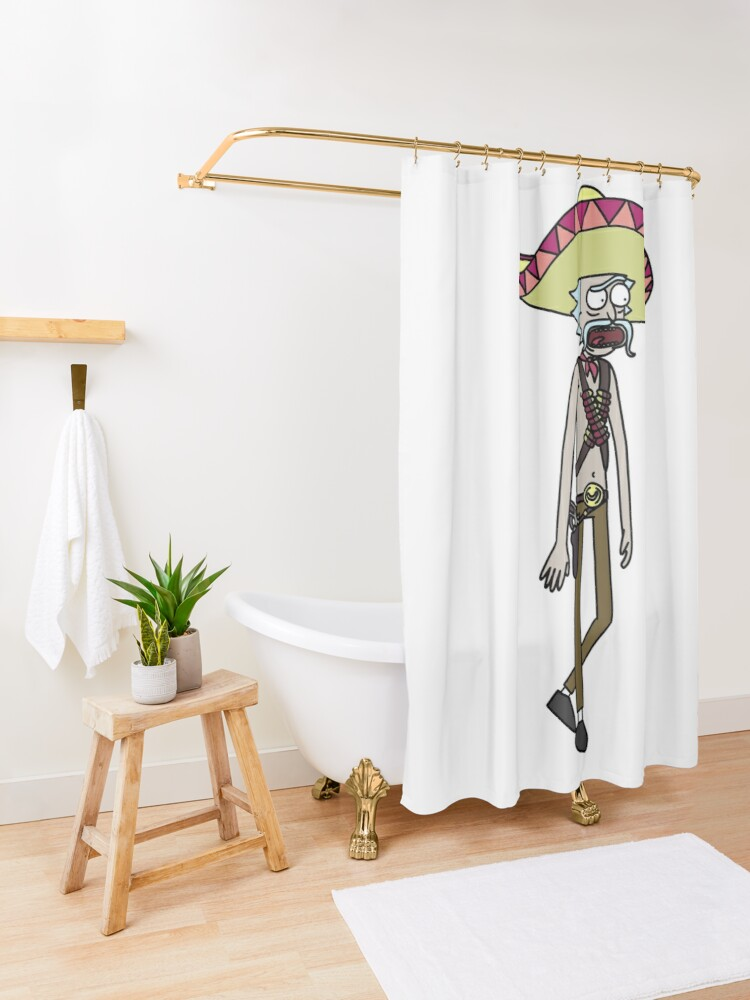 Alternate view of Mexican Rick Sanchez Sombrero Mustache | Rick and Morty character Shower Curtain