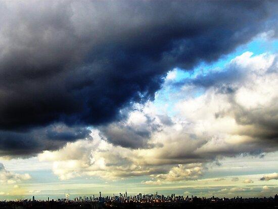 New York City, end of hurricane Sandy by Alberto  DeJesus