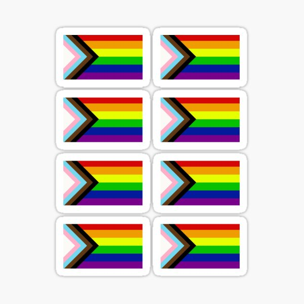 Progress Pride Flag x 8 Sticker Pack Set Sticker