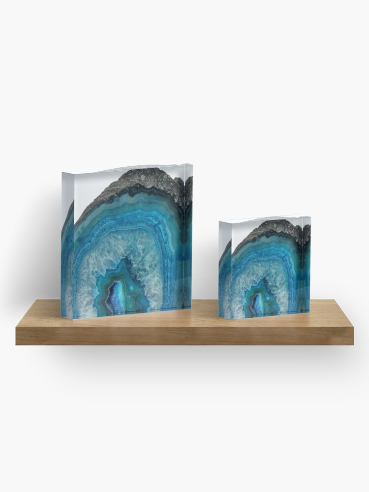 Alternate view of Soothing Blue Agate Acrylic Block