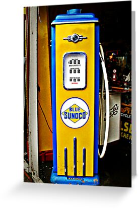 Quot Blue Sunoco Vintage Gas Pump Quot Greeting Cards By