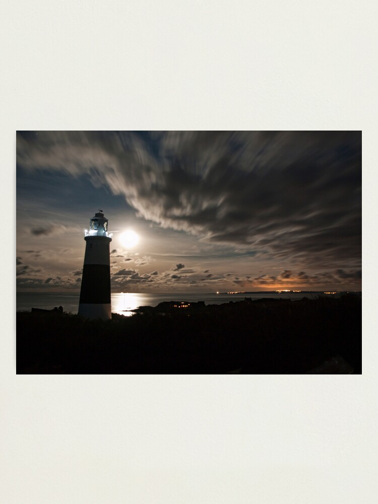 Alternate view of Alderney's Lighthouse Under A full Moon Photographic Print