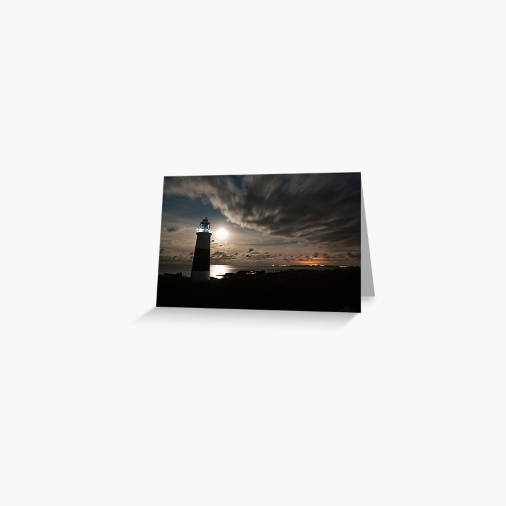 Alderney's Lighthouse Under A full Moon Greeting Card