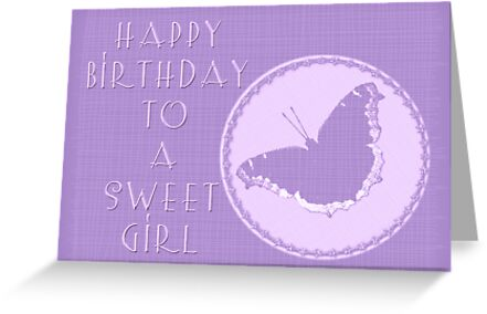Birthday Girl Greeting Card - Mourning Cloak Butterfly by MotherNature